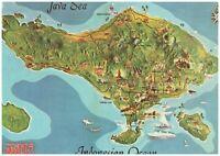 Bali Indonesian Denasar Postcard Island Illustrations Volcanic Mountains Vintage
