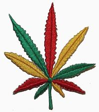 Rasta Color Pot Leaf Embroidered Iron on Applique Hippie Patch P3478