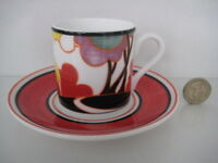 CLARICE CLIFF WEDGWOOD AUTUMN COFFEE CUP & SAUCER DECO POTTERY  CAFE CHIC