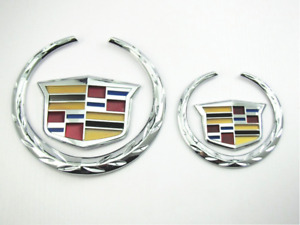 Cadillac Logo Front Grille Rear Trunk Lid Emblem for CTS XTS Escalade New 2Pcs
