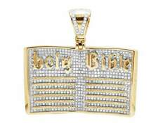 10K Yellow Gold Genuine Diamonds Open Holy Bible Book Charm Pendant 3.50ct 1.5""