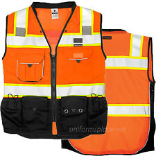 ML Kishigo Vest Mens Class 2 Black Series Serveyors Utility Pockets Safety Vests
