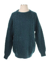 Hand Loomed Pure Irish Wool Vintage Sweater Rossan Knitwear Green Size P