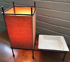 Vintage 1950s Iron Aladdin Table Lamp + Ashtray Mid Century Modern Atomic Light