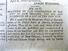 1812 newspaper LOUISIANA becomes a new state w NEW ORLEANS as its Capital City