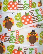 1.5 Gobble Gobble Thanksgiving Grosgrain Turkey Pumpkin Ribbon 4 Hairbow Bow
