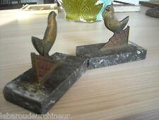 paire de serre livres en bronze art deco art nouveau oiseaux bronze birds