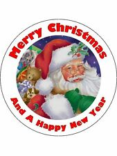 Christmas cake round edible Icing father christmas topper personalised  D13