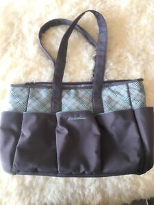 Eddie Bauer Sinclair Diaper Bag, Tote Gray Teal Plaid New Without Tags Roomy