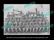 OLD HISTORIC PHOTO OF WWI AUSTRALIAN ANZAC SOLDIERS 5th LIGHT HORSE R/I c1916