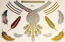 Flash Einmal Temporary Klebe Tattoo Gold 16teile Body Armband Hals Kette E20 WOW