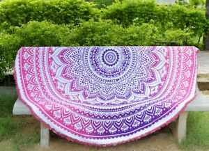 """Star Hippie Pink 72"""" Roundy Tapestry Beach Blanket Throw Table Mat Wall Hanging"""