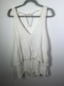 Bec & Bridge womens white playsuit romper size 12 sleeveless V neck Viscose