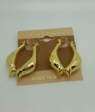 NEW 14k GOLD FILLED BIRDS PINCATCH HOOP EARRINGS DESIGNED AND  MADE IN USA