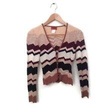 Missoni Orange Label Cardigan 38 Brown Chevron Print Knit Sweater Women's Wool