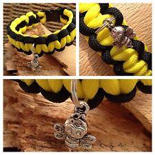"""Child's Bee Paracord Charm Bracelet Friendship Bracelet 7"""" Handmade in UK"""