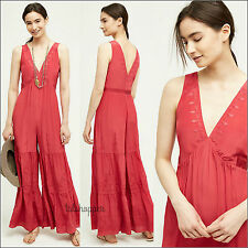 NWT M Anthropologie Elevenses $298 Silk Embroidered Bohemian Jumpsuit Wide Leg