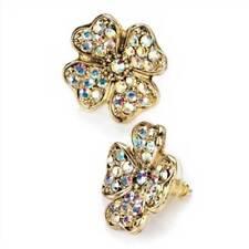 New Gold Tone AB Crystal Four Leaf Clover Shamrock Earrings ER22846