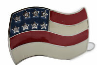 New Men Women Silver Metal Western Fashion Belt Buckle 3D USA Flag United States