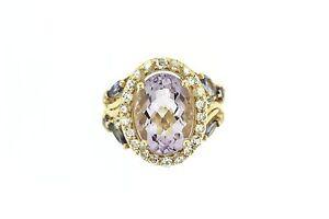 925 Vermeil Pink Amethyst / Tanzanite / White Topaz Ring ( 6.80 cts)