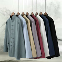 Mens Chinese Tang Suits Cotton Linen Kung Fu Shirt Solid Long Sleeve Frog Button