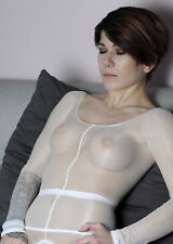 Body Bodystocking Bodysuit Bodyshirt Pantyhose offen WEISS für sie ihn unisex