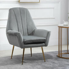 Living Room Velvet Chair Upholstered High Back Armchair Modern Home Furniture US