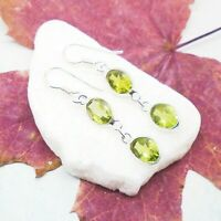 Peridot grün green oval Design Ohrringe Hänger Ohrhänger 925 Sterling Silber neu