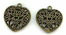 2 PEWTER ANTIQUED BRONZE LEAD FREE FILIGREE HEART PENDANT CF808