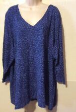 JACLYN SMITH WOMENS PLUS SIZE 4X/5X TOP MULTI BLUE PRINTED