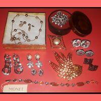 MONET signed Costume Jewelry Lot Clip Pierced Earrings Bracelet Pin Vintage Set