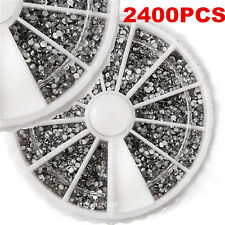2400PCS 1.5mm Nail Art Rhinestones Glitter Diamond Gems 3D Tips Decoration Wheel