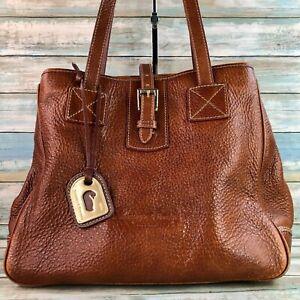 Vintage Dooney & Bourke Large Brown Pebbled Leather Tote Bag Purse Handbag