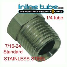 7/16-24 Inverted Flare STAINLESS STEEL Tube Nut Fitting 1/4 Brake Line EA STN12