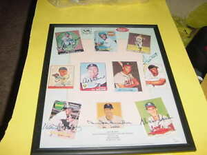 HANK AARON~WILLIE MAYS~McCOVEY signed AUTO baseball card sheet FRAMED JSA LETTER