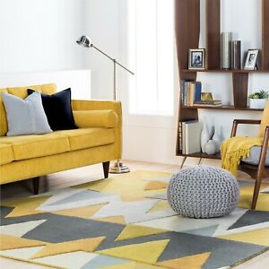 Carson Chrome Geometric Hand-Tufted 100% Wool Soft Area Rug Carpet