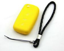 Yellow Silicone Case Cover For VW Volkswagen Golf Jetta Remote Flip Key 3 Button