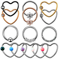 1PC Surgical Steel Nose Septum Hoop Ring CZ Opal Charm Nose Clicker Lip Piercing