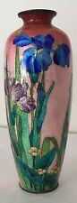 "REDUCED Signed Antique Ginbari Basse Taille Japanese Cloisonne Vase 9"" K.Teitaro"
