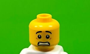 LEGO Male Minifig Scared Head Black Eyebrows Lopside Smile Dual Printed  (x1)