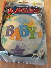 """Qualatex NEW BABY BOY Blue Congrats Round Clear Bubble Foil Helium Balloon 22"""""""