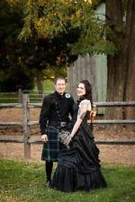 Black Taffeta Strapless Wedding Dresses Ball Gowns Gothic Halloween Gowns Custom