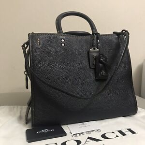 NWT COACH 1941 Mixed Glovetanned Leather/Suede Rogue Bag Black 38124