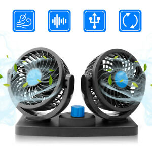 12V Dual Head Vehicle Fan Car Truck Headrest 360° Rotatable Auto Cooling Cooler