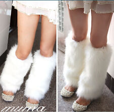 Ladies Fashion Boot Cuff Fluffy Furry Faux Fur Leg Warmers Boot Toppers 30CM