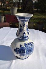 Octagonal Bulbous Floral Delft Blue Tulip Vase - Vintage 60's