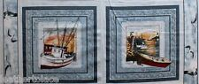 Springs Creative ~ Sea Bound Fishing Boats ~ 2 Pillow Panels 100% Cotton Fabric