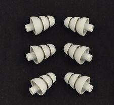 6 GREY Triple Flange Ear tips Sleeves SHURE Etymotic Research Westone Earphones