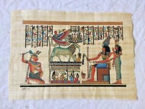Egyptian Papyrus souvenir art Pharaoh with offerings