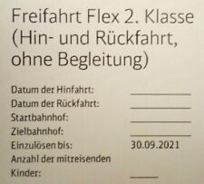 Gutschein Deutsche Bahn, Freifahrt Flex, 2. Klasse, Hin- und Rückfahrt bis 30.9.
